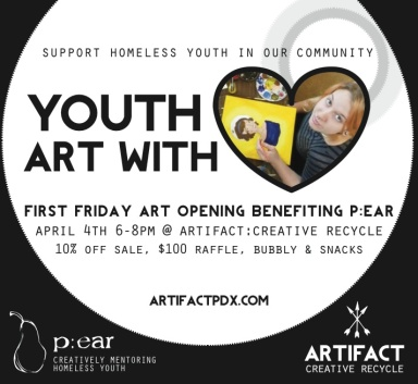 Youth Art with heart First Friday Art Opening April 4th.
