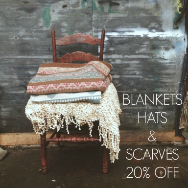 Blankets Hats and Scarves SALE 20% OFF
